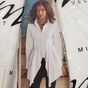 Midnight Velvet Theatric White Shirt NWT L or 1X